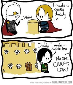 loki comics   funny-Loki-vs-Thor-father-comic.  800,000 fan girls suggest otherwise:)