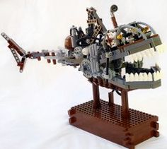 """Steampunk Lego Shark Submersible   This fine gear-driver creature/conveyance was built by Eurobricks member """"Legobodgers"""" as part of a contest To Sail the Technic Sea…""""."""