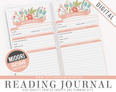 Midori Reading Journal Inserts - ROSA Collection - Midori Traveler's Notebook Style Printable - Book Entry Tracker Log - Pink Floral Design by ThePlannerEmporium on Etsy https://www.etsy.com/transaction/1215676020