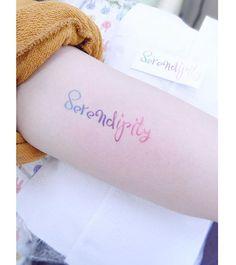 : Serendipity . . #tattooistbanul #tattoo #tattooing #lettering #letteringtattoo #watercolor #watercolortattoo #tattoosupplybell #tattoomagazine #tattooartist #tattoostagram #tattooart #tattooinkspiration #타투이스트바늘 #타투 #레터링 #컬러타투