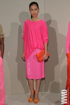J. Crew pink on pink with sparkles. I love pink and orange together!