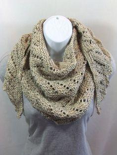Tweed Chevron Lace Shawl Scarf  by stitch1stitch2, $22.75 USD