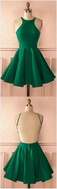 Sexy Backless Homecoming Dress,Cheap Homecoming Dress,A-Line Homecoming Dress,SHort prom Dress,Halter Backless Green Homecoming Dress With Pleats