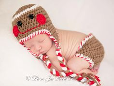 Crochet Gingerbread Hat and Diaper Cover Set - Christmas Hat - Newborn - Photography Prop - Crochet Baby Hat. $34.99, via Etsy.