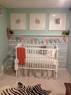 shiplap board walls in nursery | DIY Pallet Board Wall - #BabyGirl #NurseryDesign