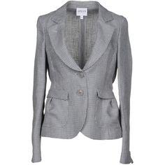Armani Collezioni Blazer (€340) ❤ liked on Polyvore featuring outerwear, jackets, blazers, slate blue, blue blazer jacket, armani collezioni jacket, multi pocket jacket, blue linen blazer and long sleeve blazer
