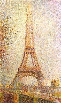 GEORGES SEURAT - La Tour Eiffel (1889)  Huile sur toile (24 x 15)