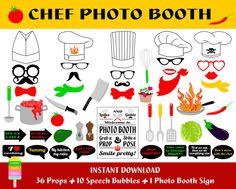 Chef photo booth props 47 pieces 36 props 10 speech bubbles 1