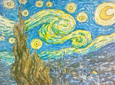 "New Blog Post! Step-by-step lesson plan. ""Adventures in the Art Studio: Starry, Starry Night..."""