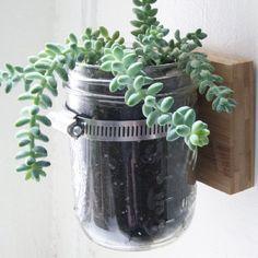Hanging Mason Jar Planter - http://www.diycraftsblog.com/hanging-mason-jar-planter/ #Hanging, #Mason, #Planter