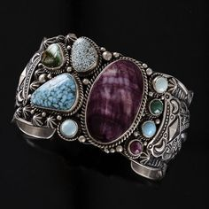Cuff | Samsville Gallery Designs.  Sterling silver, Purple Spiny Oyster and Turquoise.