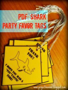 PDF: Shark Party Favor Tags - Customized Digital File DIY Printable. $5.00, via Etsy.