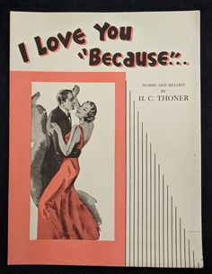 I Love You Because Vintage Sheet Music 1935 Art Deco Style | Etsy