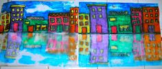 Neat way to do reflections. Draw cityscape with Crayola water soluble markers on half of sheet of paper. Spray other white half of paper with water and then fold and rub.
