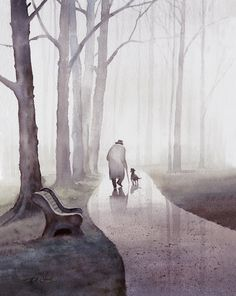 old man walking dog