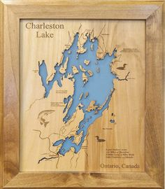 This is a beautifully detailed, laser engraved and precision cut topographical Map of Charleston Lake in South Eastern Ontario, Canada. Laser Cut Wood, Laser Cutting, Custom Engraving, Laser Engraving, Edisto Beach, Pawleys Island, Birch Ply, Blue Back, Handmade Frames
