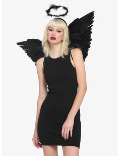 Black Angel Costume, Black Angels, Costume Accessories, Hot Topic, Trick Or Treat, Halo, Wings, Treats, Kit