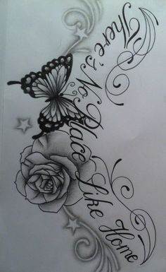 images of roses and butterfly  tattoos  | Butterfly Rose chest tattoo design with text by ~tattoosuzette on ...I would leave off the words