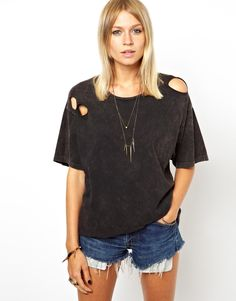 ASOS+T-Shirt+in+Acid+Wash+with+Holes