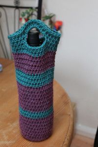 Crocheted wine bottled bag