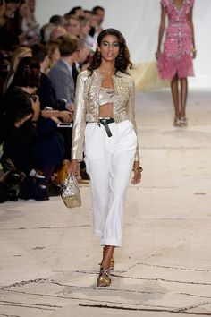 A model walks the runway at the Diane Von Furstenberg Spring 2016 fashion show during New York Fashion Week at Spring Studios on September 13, 2015 in New York City.