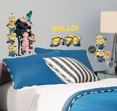 The quirky little Minions from Despicable Me 2 can now decorate your walls! These fun wall stickers from the hit film are an easy way to delight Despicable Me fans. Minion Stickers, Kids Stickers, Wall Stickers, Minion Bedroom, Kids Bedroom, Bedroom Ideas, Kids Rooms, Despicable Me 2, Minions Despicable Me