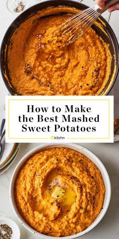 How To Make the Best Mashed Sweet Potatoes A easy, step-by-step guide to making creamy mashed sweet potatoes sweetened with maple syrup. Vegan Mashed Sweet Potatoes, Sweet Potato Mash, Simple Sweet Potato Recipes, Whipped Sweet Potatoes, Sweet Potato Side Dish, Courge Spaghetti, Creamy Mash, Cooking Recipes, Healthy Recipes