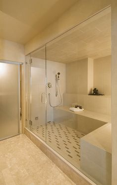 Steam sauna for four with store front glass in a private spa. Bring your friends, lets take the day to relax! Huge Shower, Master Bath Shower, Shower Tub, Master Bathroom, Spa Interior, Bathroom Interior Design, Steam Room Shower, Steam Showers Bathroom, Home Spa Room
