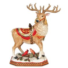 Traditional fitz and floyd damask holiday deer figurine christmas home decoration. More pictures, just visit phimia.com