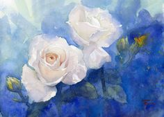 Kazuo Hasegawa with Misao Sekine. Yesterday at 6:35am · Nagoya-shi, Aichi, Japan ·  白薔薇と蝶々  White rose and Buttefly Watercolor on Arches 41*31cm-2016