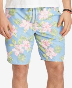 Polo Ralph Lauren Men's Big & Tall Floral-Print Traveler Swim Trunks - Blue 2XB
