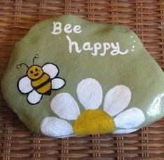 Get creative with these DIY painted rocks. From mandala rocks to easy painted rock crafts for kids, there are plenty of ideas for inspiration. Rock Painting Patterns, Rock Painting Ideas Easy, Rock Painting Designs, Paint Designs, Happy Rock, Bee Happy, Stone Art Painting, Pebble Painting, Pebble Art