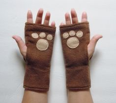Animal Paw Pad Fingerless Gloves Brown with Tan by TheLuxuryLine, $7.00