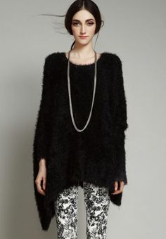 Black Asymmetric Batwing Sleeve Fluffy Loose Sweater