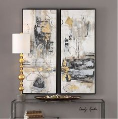 These Modern, Hand Painted Canvases Exude A Bold, Abstract Style. Thick Brushstrokes In Industrial, Black And Gray Tones Are Accented By Bright Gold Leaf Accents That Add A Touch Of Glamour. Each Expressive Canvas Is Stretched & Attached To A Wooden Frame. Framed Art Sets, Wall Art Sets, Wall Art Decor, Contemporary Abstract Art, Abstract Styles, Abstract Wall Art, Abstract Oil, Hand Painted Canvas, Foto E Video