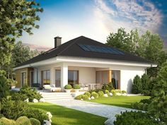 Bungalow with attic to adapt, basement and a garage for two cars – Amazing Architecture Magazine Architecture Design, Amazing Architecture, Style At Home, One Story Homes, Prefab Homes, Modern House Plans, Story House, Home Fashion, Building Design
