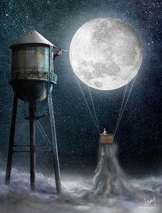 Girl & the Moon as a hot air balloon & boy hanging on to water tower art Stars Night, Good Night Moon, Stars And Moon, Moon Moon, Moon Art, Blue Moon, Moon Photos, Moon Pictures, Theme Galaxy
