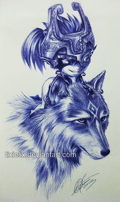 Wolf Link n Midna Pen Sketch by *TixieLix on deviantART