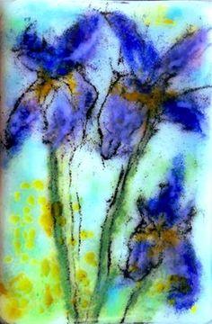 "Daily Paintworks - ""Iris Trio"" - Original Fine Art for Sale - © Kristen Dukat"