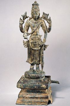#Vishnu  #India, Andhra Pradesh or Tamil Nadu; Pallava period, 8th century  Vishnu is worshipped by #Hindus as the preserver of the universe. He descends to earth in different guises and restores the balance and order of the universe. Three of the objects he holds, the discus, club and conch shell, represent those used in his endeavors. The sacred thread he wears is worn by members of the high-ranking #Brahmin caste that was traditionally responsible for the performance of rituals.