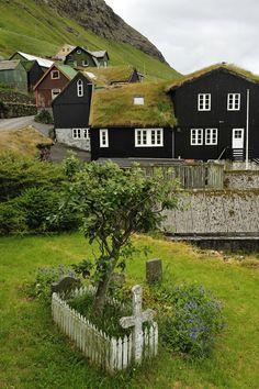 Grass Roofs, Bour, Faroe Islands