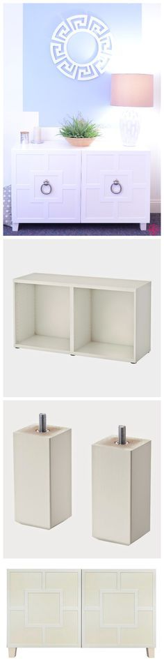 """Bad news! IKEA® """"Besta Combination Console"""" is no longer sold as a kit. But is you can still purchase the parts to create it. You will need the IKEA Besta console frame, 4 IKEA Stubbarp legs to screw on, 2 IKEA Lappviken doors, 2 Harper Thick O'verlays panels (or different O'verlay panel style) and Baldwin Door Knockers."""