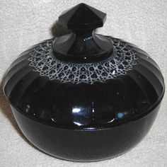 Black Amethyst Depression Glass Small Container Dish With Lid - $60.00 : Vintage Collectibles Sewing Patterns Postcards Aprons Ephemera