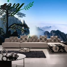 752b73dc846c Large 3D Mural Wallpaper Chinese Style Peak Cloud Scenery Wall Paper for  Living Room Bedroom TV
