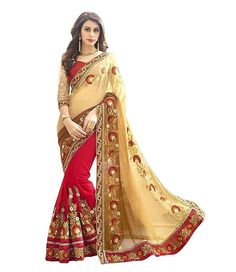 "Partywear Red And Beige Georgette Half And Half Sarees Bridal Designer Sarees#deal #bridalsarees SEASON SALE ADDITIONAL UP TO 20% OFF. USE CODE: ""SALE20"". SHOP NOW....."