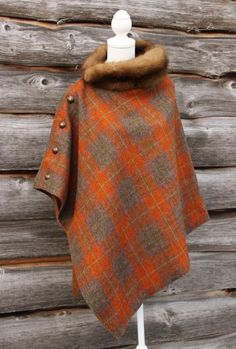 Harris Tweed & Vintage Fur Poncho, use fleece for neckline, with small square of wool.