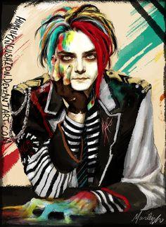 Gerard Way fantastic fan art Emo Bands, Music Bands, Rock Bands, My Chemical Romance, Emo Art, All Meme, Black Parade, The Draw, Punk Rock