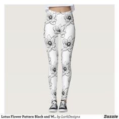 Lotus Flower Pattern Black and White Leggings : Beautiful #Yoga Pants - #Exercise Leggings and #Running Tights - Health and Training Inspiration - Clothing for #Fitspiration and #Fitspo - #Fitness and #Gym #Inspo - #Motivational #Workout Clothes - Style AND comfort can both be achieved in one perfect pair of unique and creative yoga leggings - workout and exercise pants - and running tights - Each pair of leggings is printed before being sewn allowing for fun designs on every square inch…