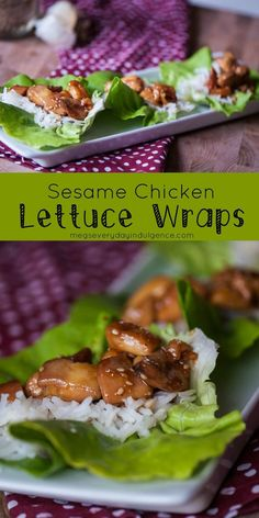 Sesame Chicken Lettuce Wraps are a healthy take on the favorite Chinese takeout dish. Light, filling and clean eating approved.