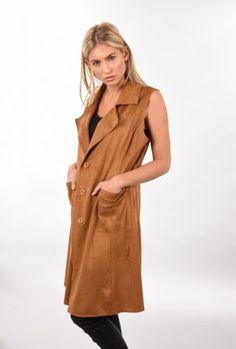 Longline tan waistcoat